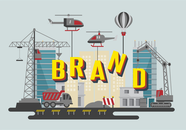 brand promotion with texts and construction site illustration