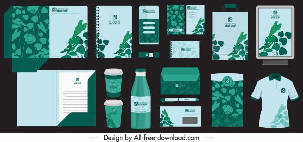 branding identity sets dark green leaves decor