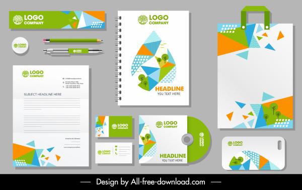 branding identity sets ecological elements colorful geometric decor