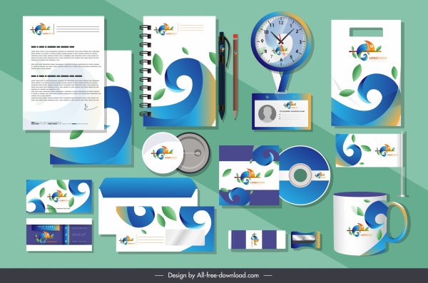 branding identity sets modern chameleon species elements decor
