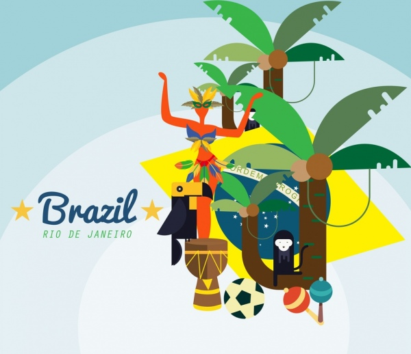 brazil advertising banner colorful icons decor