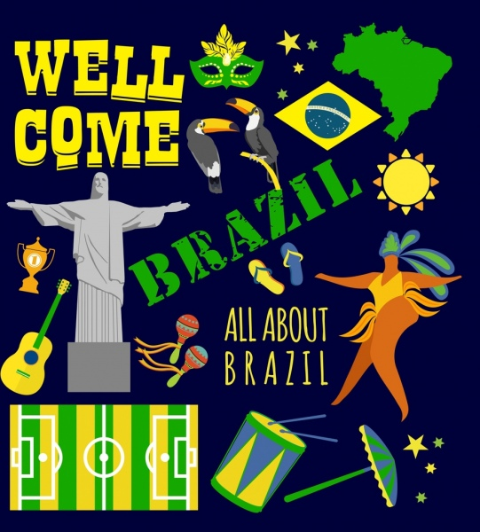 brazil advertising banner colorful national design elements