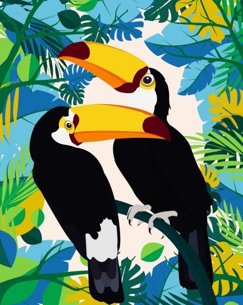 brazil background colorful leaves parrots icons decor