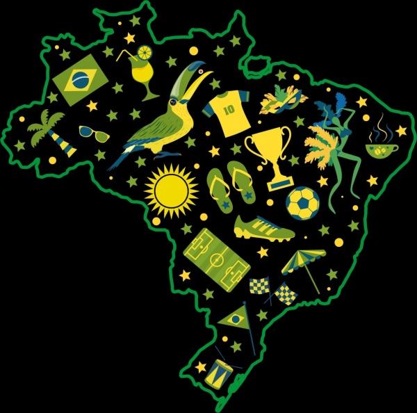 brazil background green yellow map symbols decor
