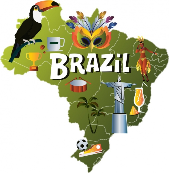 brazil background map parrot mask statue football icons