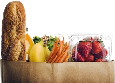 bread fruits and vegetables stock photo