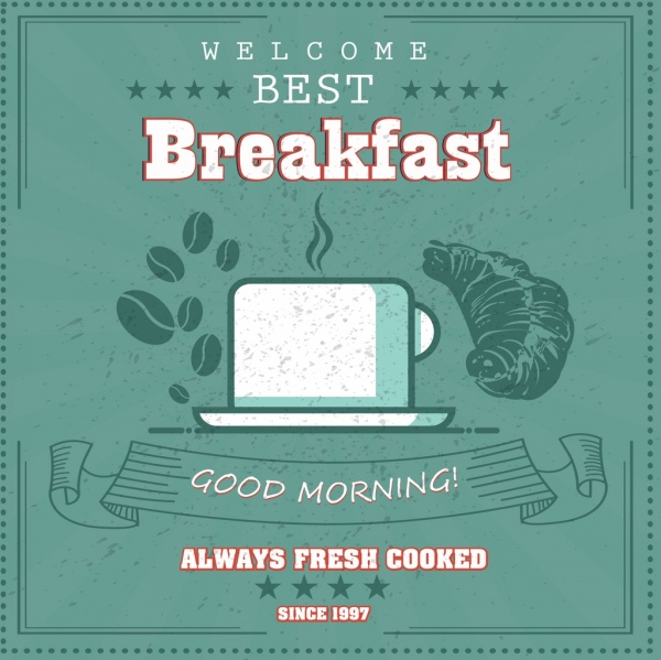 breakfast advertisement coffee cup bread icons retro design
