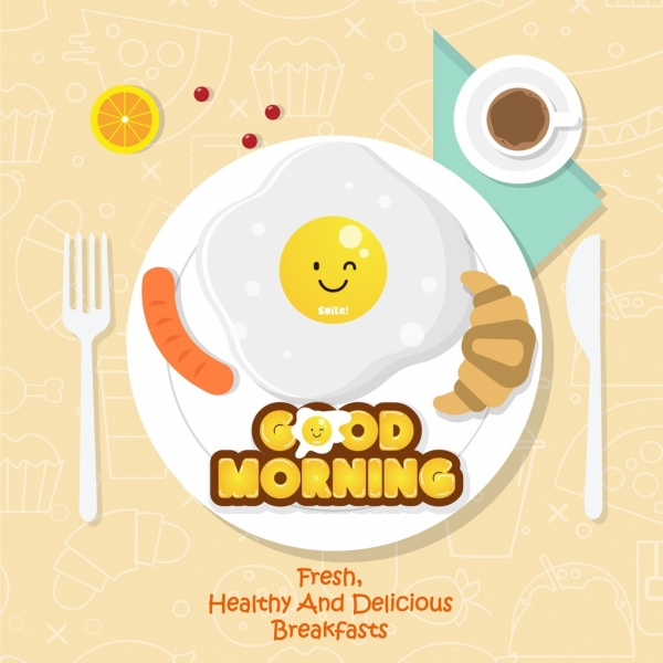 Breakfast Advertisement Dishware Stylized Food Icons Decor Free