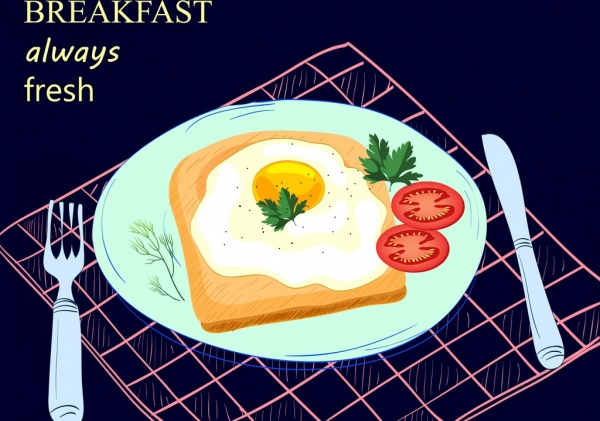 breakfast advertising fried egg dishware icons decoration