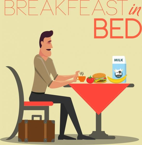 breakfast advertising man food table icon cartoon design