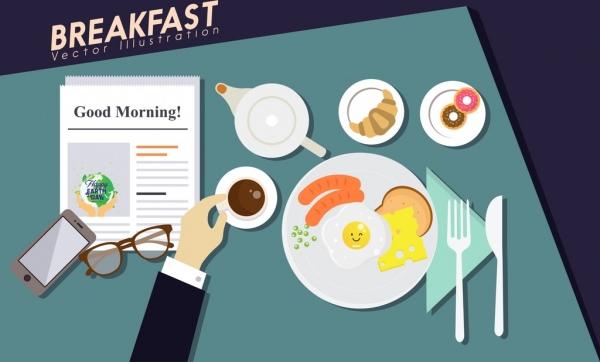 breakfast background fast food tea hand icons