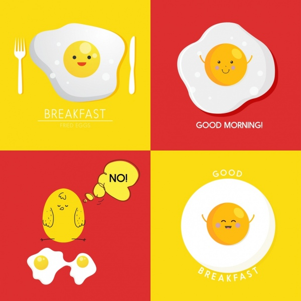 breakfast banner sets stylized fried eggs icons