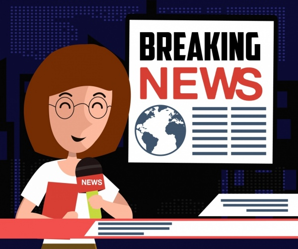 Breaking news background reporter icon colored cartoon Free