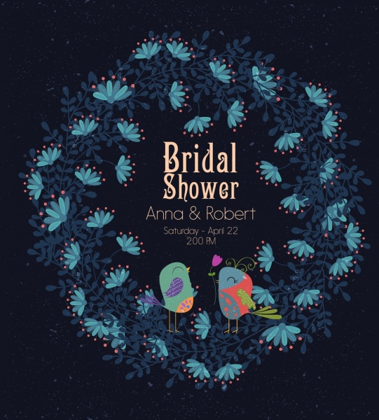 bridal shower banner birds flowers icons decoration