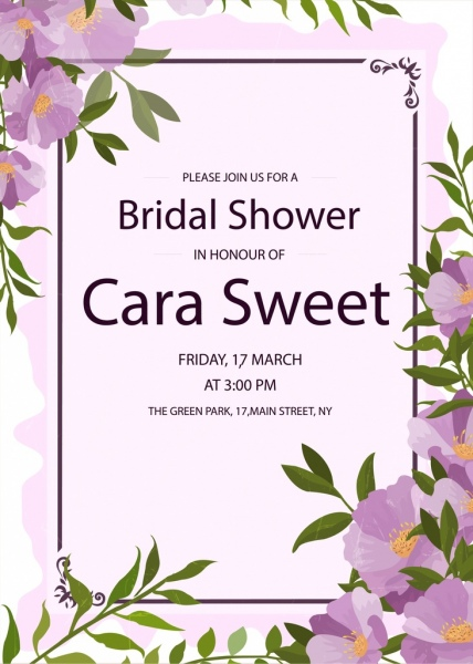 bridal shower invitation card violet flowers decoration