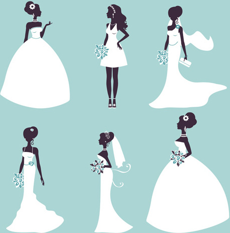 bride and wedding silhouettes vector