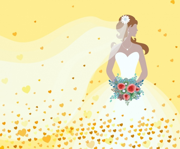 bride drawing white dress icon hearts decoration