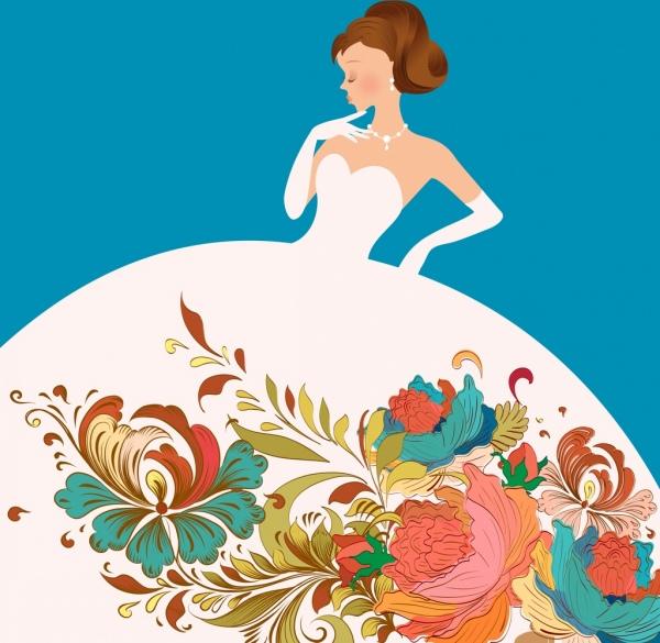 bride dress template colorful flowers decoration