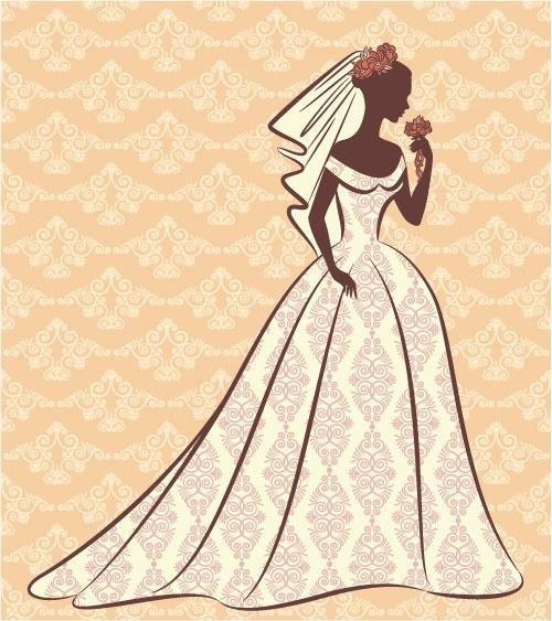 bride silhouette 01 vector