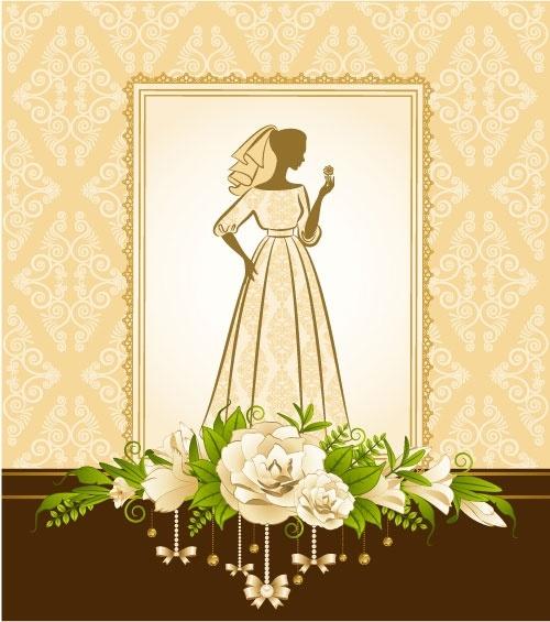 bride silhouette 02 vector