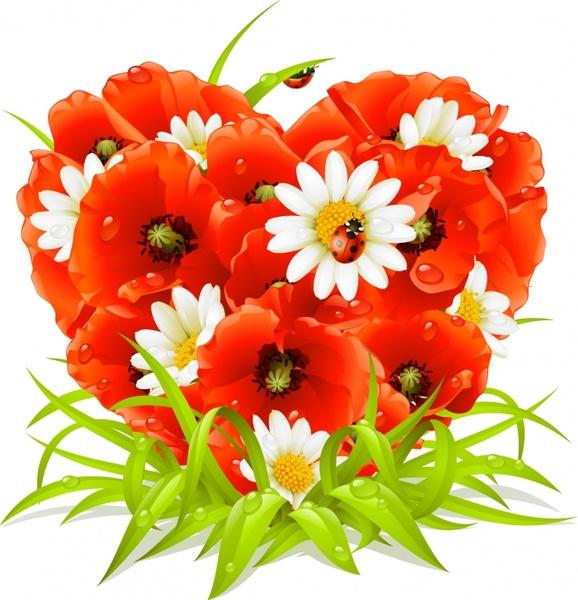 nature background flowers ladybug icons modern colorful decor