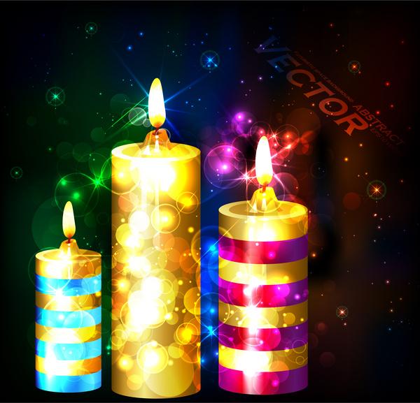 bright candles on bokeh dark background illustration