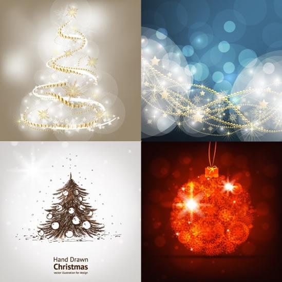 christmas background templates bokeh dynamic fir tree bauble