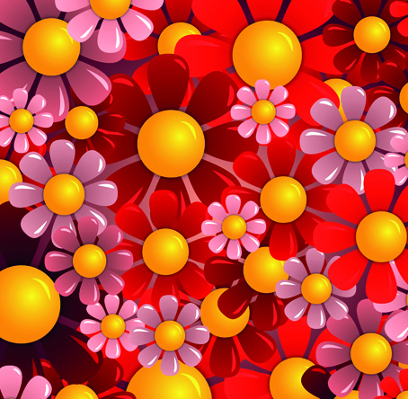 bright colorful flowers vector background set