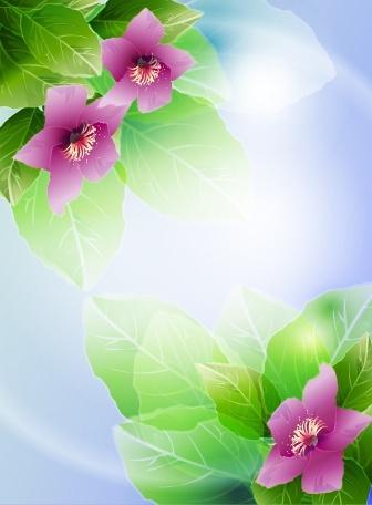 nature background modern vivid decor petals leaves sketch