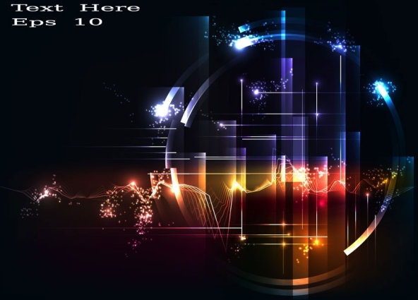Abstract Technology Background With Light Effect: Bright Light Effect Background 01 Vector Free Vector In