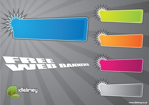 web banners design with colored horizontal style