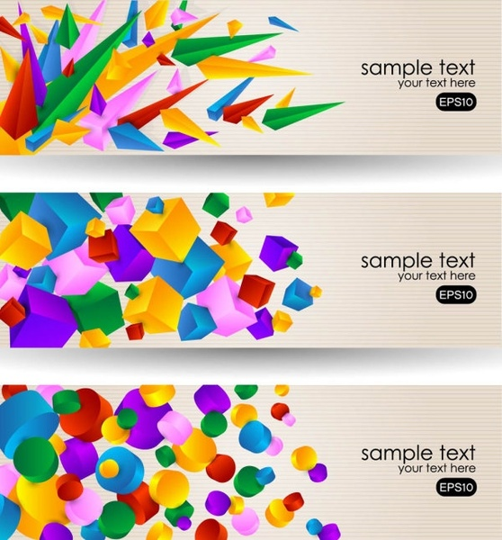 brilliant color banners 03 vector