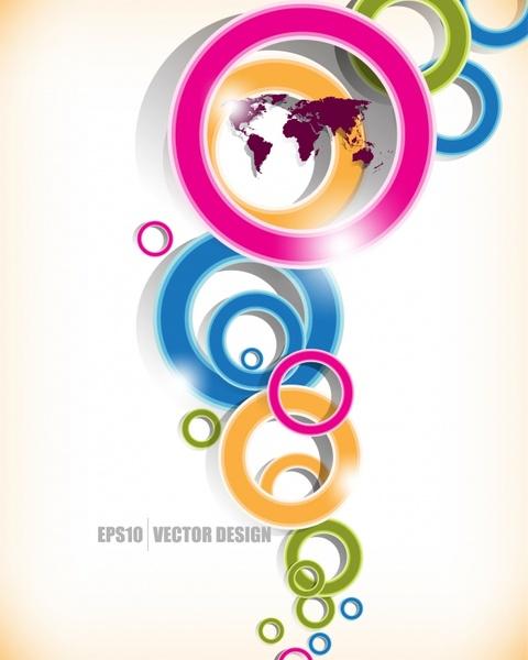 decorative background modern colorful dynamic circles sketch
