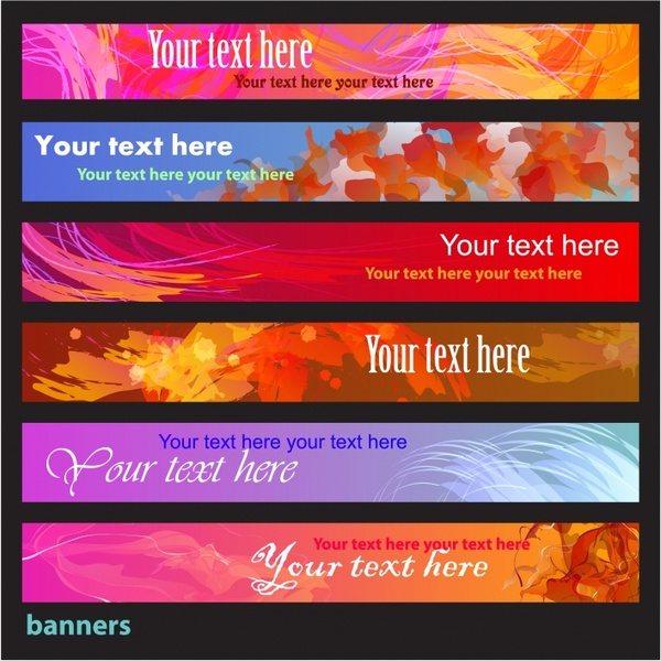 decorative banner templates colorful dynamic grunge abstract watercolor