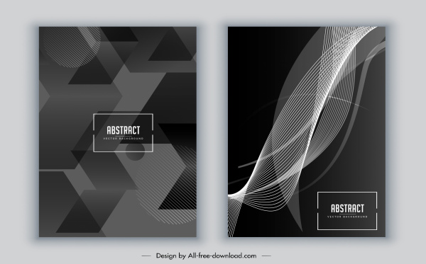 brochure cover template black white abstract geometric dynamic