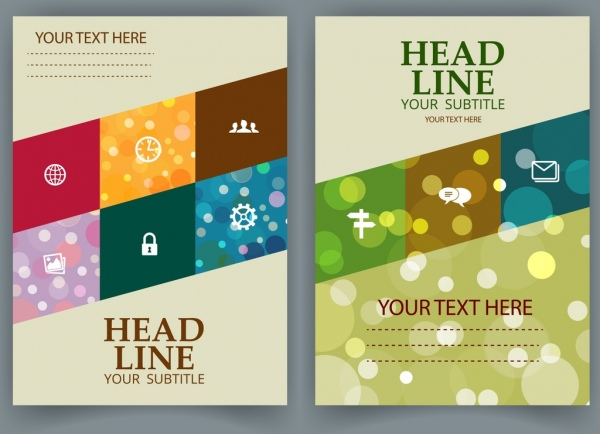 brochure cover template bokeh geometric decoration