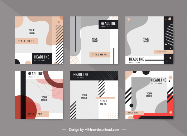 brochure cover templates abstract classic flat decor