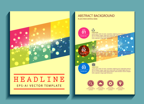 brochure design with abstract sparkling background
