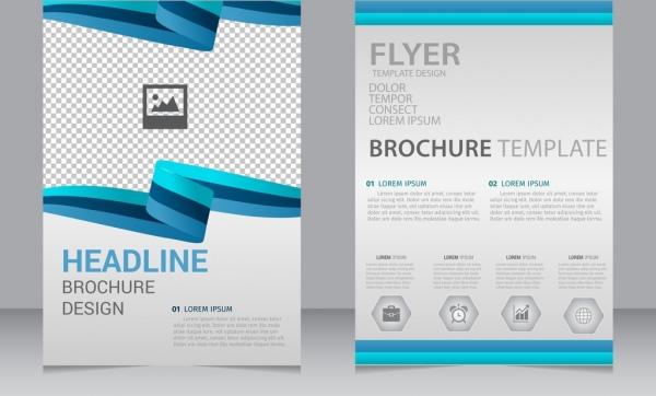 brochure flyer template 3d curves blue lines ornament