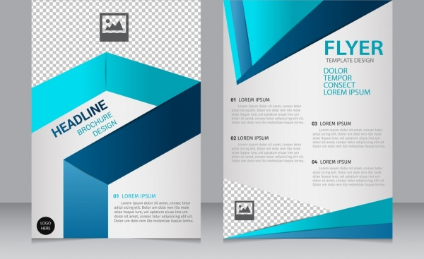 Brochure Flyer Template D Modern Blue Checkered Ornament Free - 3d brochure template