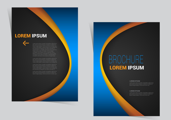 brochure flyer template design with curved line style