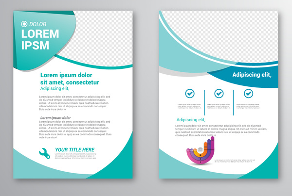 brochure template design with checkered curves illustration free