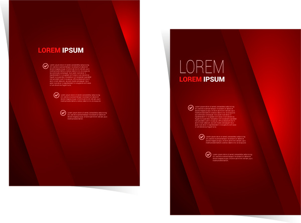 brochure template design with dark red background free vector in