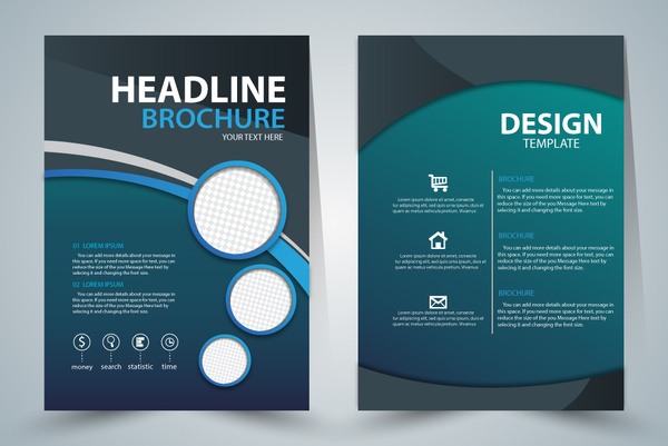 Brochure Template Design With Green Elegant Style Free Vector In - Brochure templates for illustrator