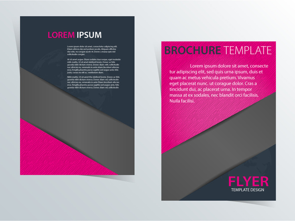 brochure template design with pink and dark color free vector in