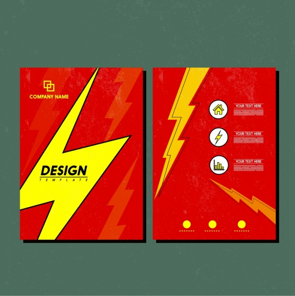 brochure template lightning icon design red yellow decoration