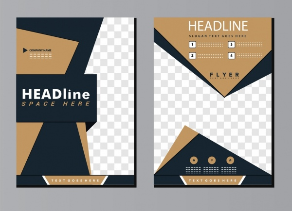 brochure template modern 3d design checkered decor