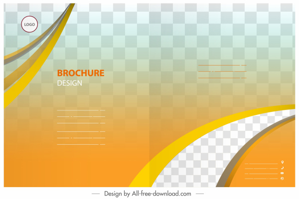 brochure template modern bright checkered curves ornament
