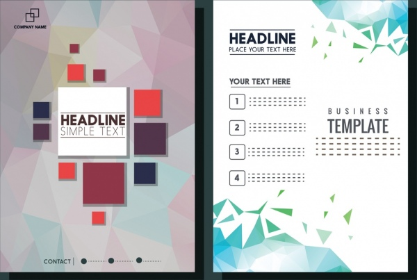 brochure templates colored polygonal background ornament