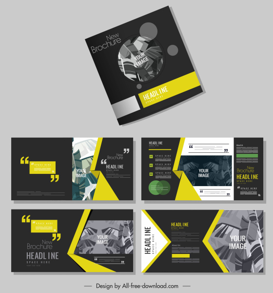 brochure templates dark modern design leaves decor